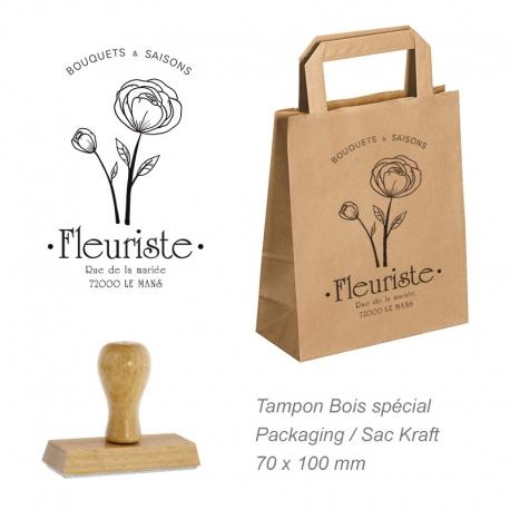 Tampon bois grand format pour Sac kraft & Packaging