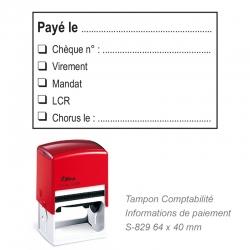 Tampon Comptabilité « Payé le » + informations de paiement