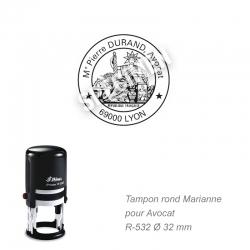 Tampon Avocat - Sceau officiel Marianne
