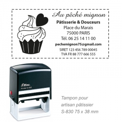 Tampon Pâtissier - Logo + Coordonnées