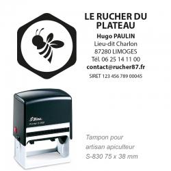 Tampon Artisan Apiculteur - Logo + Coordonnées